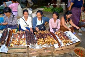 Women selling meat products