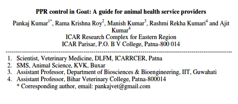 PPR control in Goat: A guide for animal health service providers